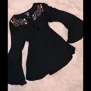 Time and tru black floral embroidery bell sleeve